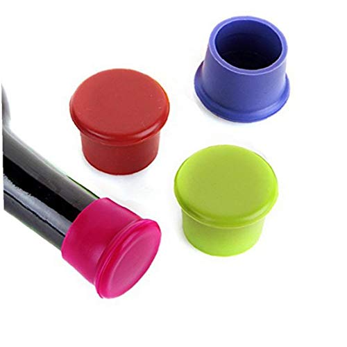 KHHGTYFYTFTY Color al Azar 3 Piezas Vino Tapones de Vino de Silicona Caps Tapones de Botella de sellador de Silicona Reutilizable y Botella de Vino Bebidas Tapones reemplazo del Corcho para el Vino