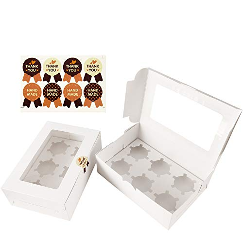 Cajas para Cupcakes, Diealles Muffin Cupcake Boxes for 6 cupcake, Paquete de 8, Blanco