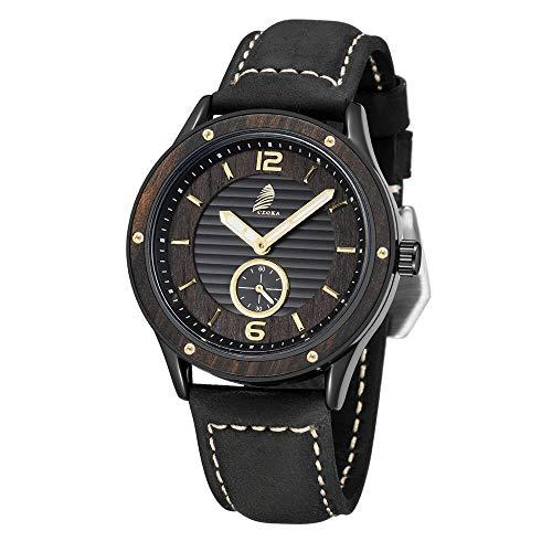 Orologio da Uomo, CZOKA Impermeabile Cronografo Cinturino in Pelle Analogico al Quarzo Orologi
