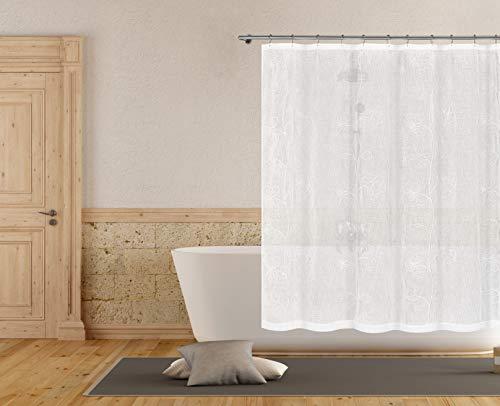 Home Maison Duschvorhang, Bestickt, Blumenmuster, schimmelresistent, für Badezimmer, wasserdicht, wasserabweisend & antibakteriell,, Weiß, 178 x 178 cm