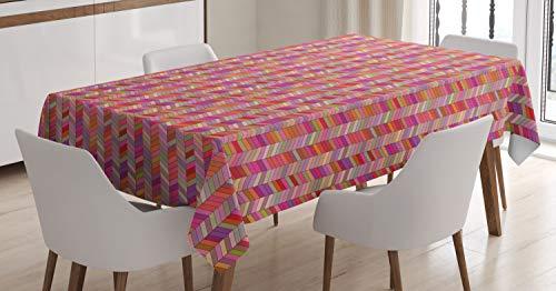 ABAKUHAUS Cheurón Mantele, Patrón Rectangular en ángulo, Resistente al Agua Lavable Colores No Destiñen Personalizado, 140 x 200 cm, Multicolor