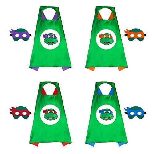Ninja Turtles Costume Teenage Mutant Ninja Turtles Cape Ninja Cloak Superhero Capes and Masks for Kid Carnival 4pcs/Set for Kid Birthday /Cosplay Part/Halloween