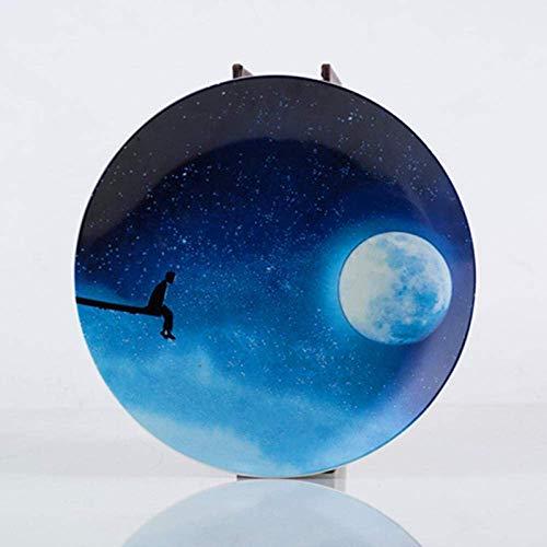 DJY-JY Platos de cena 8 pulgadas Nordic Ceramic Plate Round Night Sky Snack Platos Plato Porcelana Bistec Pastel Postre Nueces Bandeja Inicio Desayuno Vajilla
