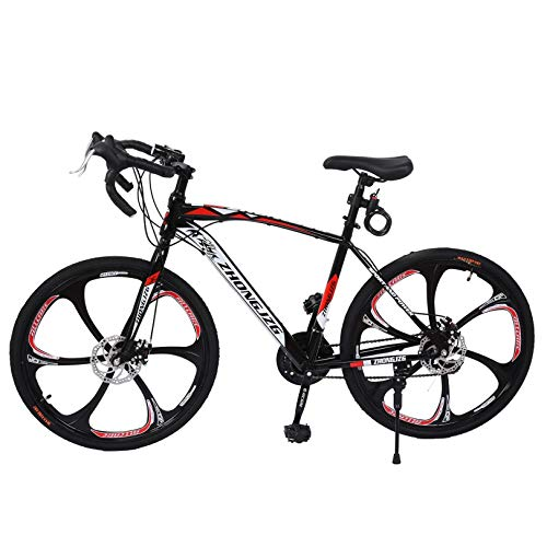 KONF Road Bikes,26in Mountain Bike, Full Suspension Road Bikes with Disc Brakes, 21 Speed Bicycle Full Suspension MTB Bikes for Men/Women High-Carbon Steel Mountain Bike