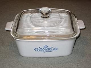 Vintage Corning Ware 1 1/2 Quart Cornflower Blue Rectangle Baking Dish Casserole w/ Lid - Made In USA P-4-B