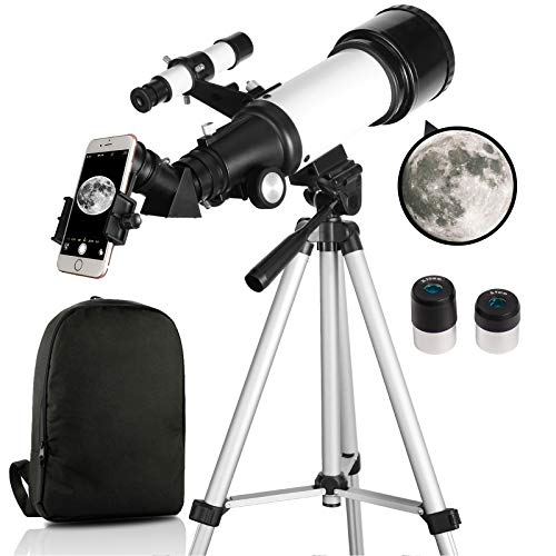 Telescope, Telescopes for Adults, 70mm Aperture 400mm AZ Mount, Telescope for Kids Beginners, Fully Multi-Coated Optics, Astronomy Refractor with Tripod, Phone Adapter, Backpack