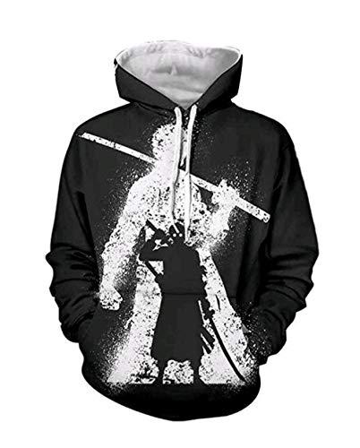 Bkckzzz Sweatshirt à Capuche One Piece Luffy Lettre Imprimé Pochette Unisexe Pull Animation Grande Taille pour Hommeワ ン ピ ー ス Rôles Series-4XL