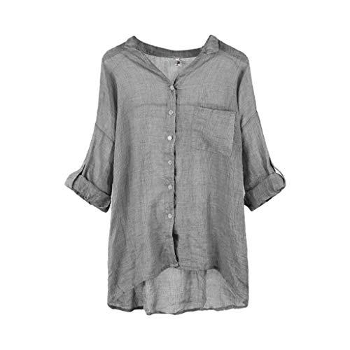 Fulltime(TM) - Blusa tipo túnica para mujer, estilo casual con manga tres cuartos para mujer, camisas lisas de lino