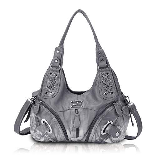 Angel Kiss Tasche Damen Handtasche Schultertasche Lederhandtasche Reise Arbeit Shopping Mode Damenhandtasche Henkeltasche Umhängetasche Top Griff Tasche, Bestes Geschenk für Frauen Grau