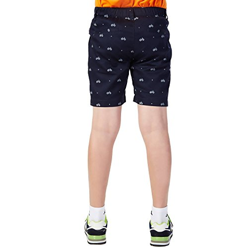 Leo&Lily Boys Elastic Waist Bike Print Casual Chino Shorts (Navy, 10)
