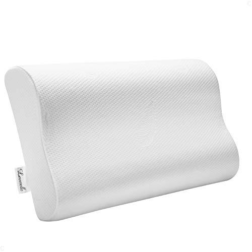 Levesolls Cuscino Cervicale Memory 60×36×12/10cm, Cuscino Antipolvere e Antiacaro, Cuscino per Dormire da Letto, Rimovibile/Lavabile, Federa Morbida