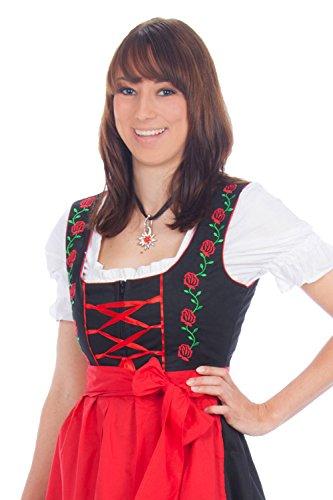 Mini Dirndl 3-teilig schwarz rot mit gestickten Rosen, passender Bluse und Schürze Gr 36