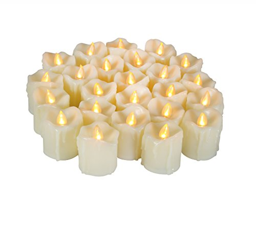 24 Battery Operated Flameless LED Votive Candles Realistic Flickering Electric Fake Tealights with Drips Bulk Set Baptism Party Wedding Decorations Centerpieces Home Decor Long Lasting Batteries Incl.
