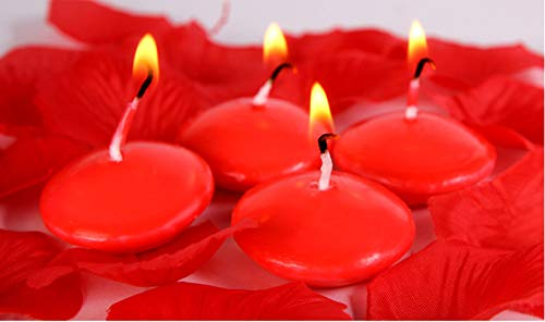 Floating Candles,Classic Unscented Tealight Shape Candles with 100PCS Silk Rose Petals,Mini Candle Discs for Weddings,Anniversaries,Birthdays,Home Decoration,Spa,Relaxation,10PACK (Red)