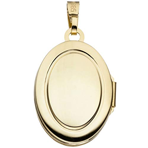 Medaillon oval Anhänger 585 Gold Gelbgold Kettenanhänger Medaillon gold