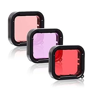 3 en 1 Snorkel Diving Bajo el agua Rojo / Rosa / Púrpura Filtro de lente en agua de mar y agua dulce Compatible with la carcasa impermeable oficial de GoPro Hero 7 Black, 6, 6 Black, 5/5 Black