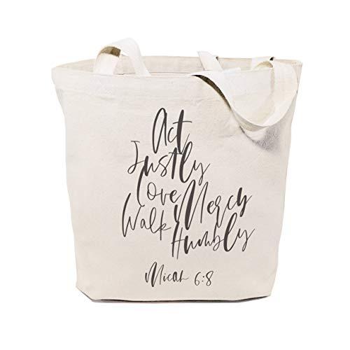 ACT Justly Amour Mercy Walk Humbly Michée : Toile de coton Shopping Voyage Sac à provisions réutilisable Fourre-tout et sac à main cadeaux pour elle