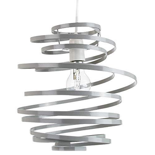 Lampada a sospensione moderna a spirale in metallo grigio lucido con doppia spirale a spirale:FBM