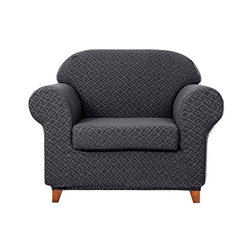 Hochelastischer Sofabezug, 2 Stück Couchbezug für 3 Kissen Couch Möbelschutz mit elastischem Boden Rutschfester strapazierfähiger waschbarer Sofabezug für Wohnzimmer Kinder Haustiere-3 Sitzer-weiß