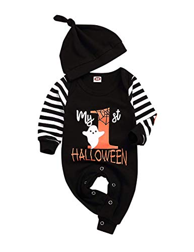 Wexuua Halloween Baby Boy Girl Outfit Mein erster Halloween Kürbis Hoodie Strampler Body Einteiliger Overall