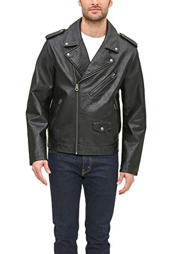 Levi's Men's Faux Leather Classic Motorcycle Jacket, Black, Small