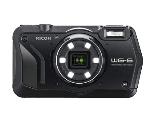 RICOH WG-6 Black Waterproof Camera 20MP Higher Resolution Images 3-inch LCD Waterproof 20m Shockproof 2.1m Underwater Mode 6-LED Ring Light for Macro Photography