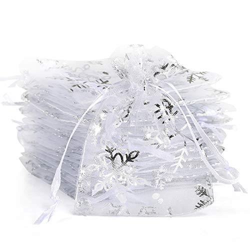 Naler 120 x Organzasäckchen Schneeflocken Weiß Säckchen mit Aufdruck Winterlich Organza Beutel Geschenkbeutel für Verpackung Weihnachten - 7 x 9 cm