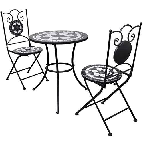 Conjunto de 1 mesa y 2 sillas con marco de hierro con tablero de mesa de azulejos de cerámica, juego de bistro, balcón, balcón, terraza, color negro y blanco