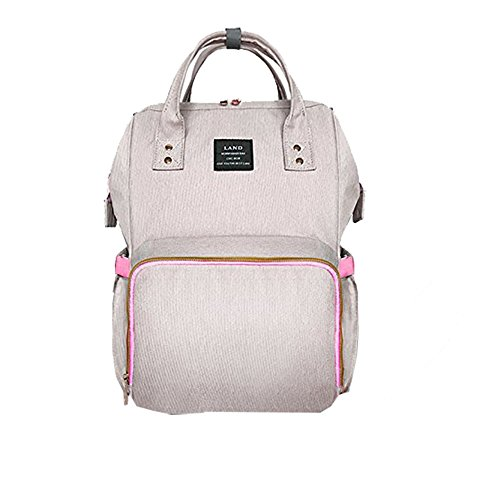 Diaper Bag Waterproof Travel Backpack Stylish Nappy Bags with Multi-Function for Baby Care Light Gray