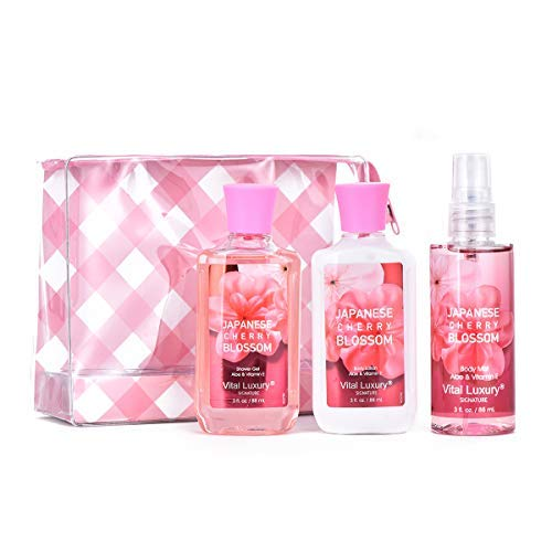 Vital Luxury Bath & Body Care Travel Set – An Ideal Home Spa Gift Set Includes Body Lotion, Shower Gel, and Fragrance Mist - Enriched with Natural Extracts for Men & Women (Cherry Blossom)
