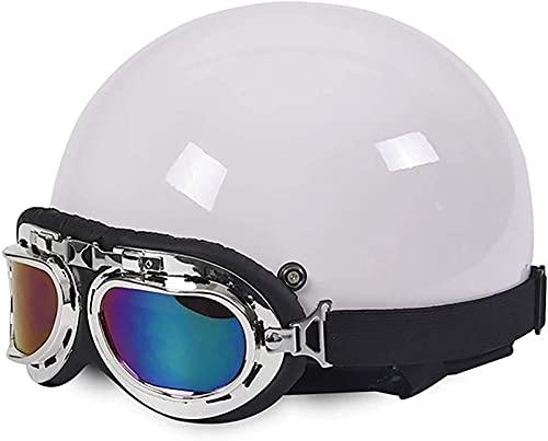 Retro Jet Casco Moto Half-Helmet,Personalidad Retro Moda Motocicleta Casco De Seguridad con Gafas Protectoras,DOT/ECE Homologado Cascos de Moto para Hombres y Mujeres ( Color : C , Size : 54CM-59CM )