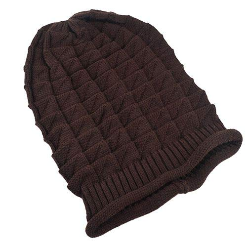 Rhombus Patroon Knit Winter Warm Haak Hoed Gevlochten Baggy Beret Beanie Cap Kleding Accessoires