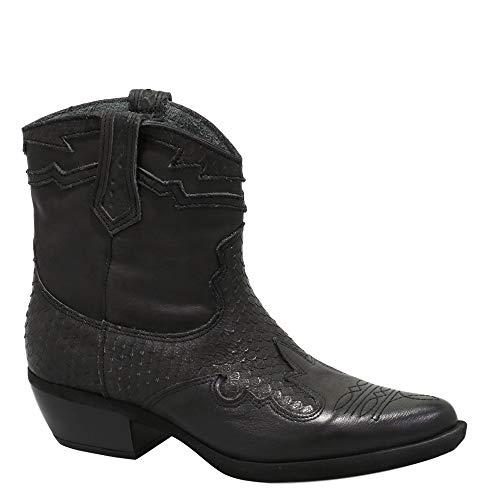 Felmini - Damesschoenen - Word verliefd EL PASO C318 - Cowboy & Biker enkellaarzen - Echt leer - Zwart - 37 EU Size