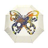 LIUBT - Sombrilla con 3 pliegues y cierre automático, diseño de mariposas, color negro