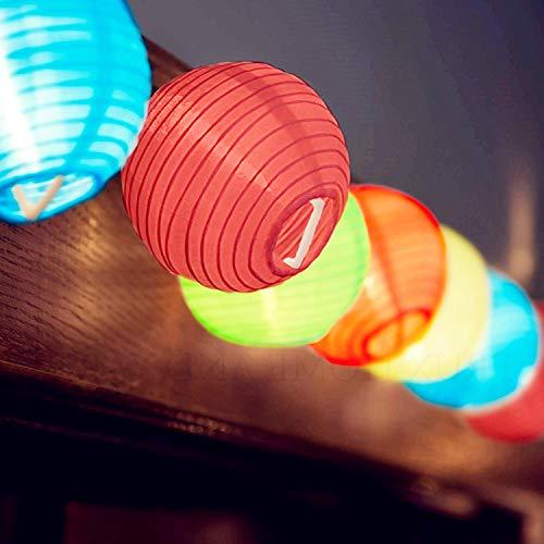 SUNSGNE 8.5Ft Hanging Nylon Lantern String Lights:10 Mini Oriental Style Colorful Lanterns Plug in Home & Garden Decorative Lights for Indoor/Outdoor Patio Party Wedding Bedroom Bistro Bar