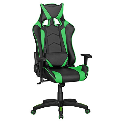 Amstyle Score Gaming Chair aus Kunstleder (schreibtisch-Stuhl in Leder-Optik | Drehstuhl in Race-Optik) Schwarz/Grün