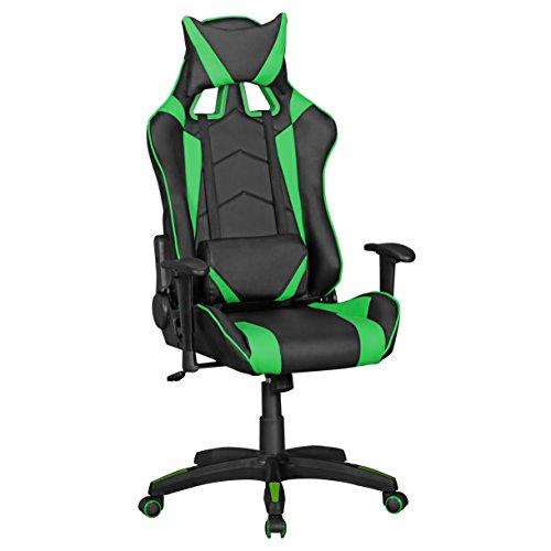 Amstyle Score kunstleer in zwart/blauw | bureaustoel in leer design racing managerstoel met armleuning | gamer bureaustoel sportstoel en hoofdsteun | draaistoel in race look gaming stoel