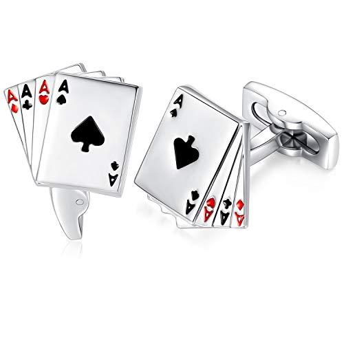 HONEY BEAR Herren Poker Karten Spielkarte Muster 4A Manschettenknöpfe Hochzeit Business Cufflinks Edelstahl 1 Paar,MEHRWEG