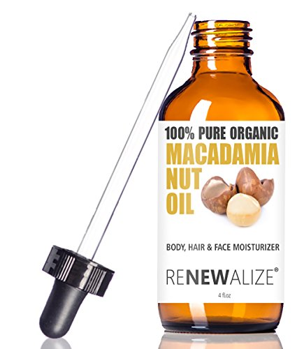 of moisturizer oil for face skins Organic Macadamia Nut Oil Facial Moisturizer for Dry Skin by Renewalize - In Large 4oz Glass Bottle | Cold Pressed and Unrefined Face Oil | For the Oil Cleansing Method