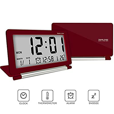 econoLED Multifunction Silent LCD Digital Large Screen Travel Desk Electronic Alarm Clock, Date/Time/Calendar/Temperature Display, Snooze, Folding Black & Silver