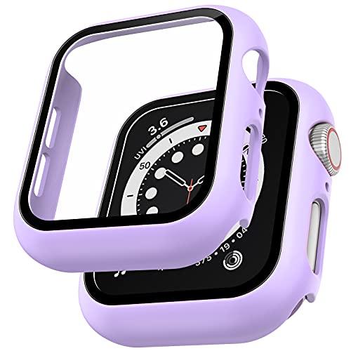 LϟK 2 Pezzi Morandi Viola Custodia Cover per Apple Watch SE/Series 6 / Series 5 / Series 4 40mm con Vetro Temperato - Copertura Completa Custodia Rigida HD Clear Pellicola Protettiva