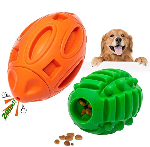Durable Dog Squeaky Toys for Aggressive Chewers, Almost Indestructible Natural Rubber Chew Balls...