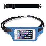 Blue Waterproof Running Swimming Belt Fanny Pack - fits iPhone 6 7 8 X 11 12 Plus & Android Samsung - W/Touchscreen Cover - IPX8 Rated Dry Waist Bag Pouch for OCR, Beach, Pool, Kayaking, Rafting, etc!