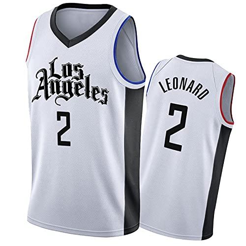 IUYJ Los Angeles Clippers Kawhi Leonard # 2 Camisetas De Baloncesto para Hombre 2020-21 City Edition,Basketball Jersey Bordada por Fanáticos,Camiseta De Malla Transpirabl White-XXL
