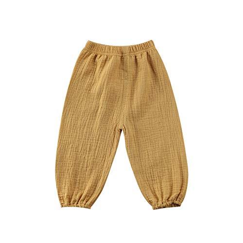 Bambino Neonata Ragazzo Cotone Lino Pantaloni Lunghi Pantaloni Elastico In Vita Leggings Fondelli Casual Eelastic Harem Bloomers Giallo 2-3 Anni