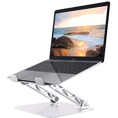 OPERNEE Laptop Stand, Ergonomic Adjustable Laptop Holder with Heat-Vent to Elevate Laptop, Riser for Computer Tablet, Compatible with MacBook, Air, Pro, Dell, All Laptops (Silver)