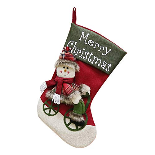 Jeffyo 1 pz Calza di Natale Classico Natale, Ricamato, 24,9 x 46 cm/25 x 46 cm Santa Claus Red
