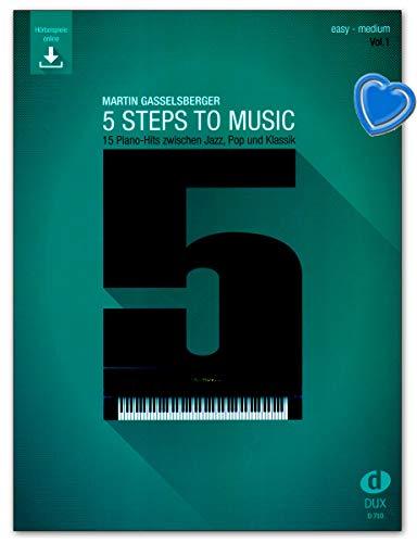 5 Steps to Music - 15 Piano Hits zwischen Jazz, Pop und Klassik - Lehrbuch mit online Audio, Notenklammer - 9783868493382