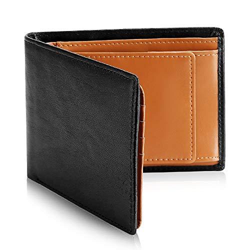 メンズ財布 ウォレット 二つ折り 本革 レザー カード収納 小銭入れ コインポケット 大容量 RFID プレゼント 高級感 (ブラック) (カーキ new)