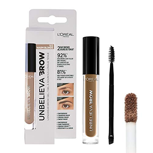 L'Oréal Paris Unbelieva Brow Gel De Cejas, Larga Duración, 103 Warm Blonde - 3.4 ml